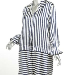 Burberry London navy  and white striped button up